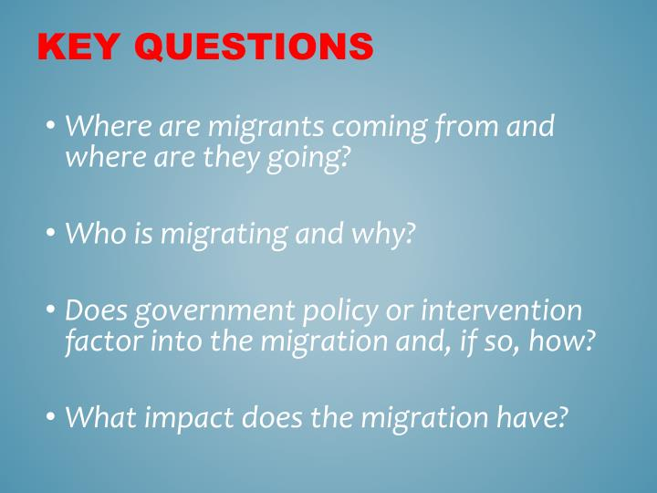 Where are migrants coming from and where are they going?