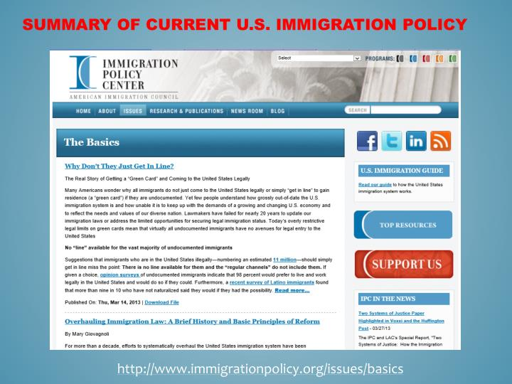 Summary of Current U.S. Immigration Policy