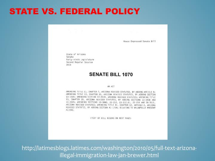 STATE VS. FEDERAL POLICY