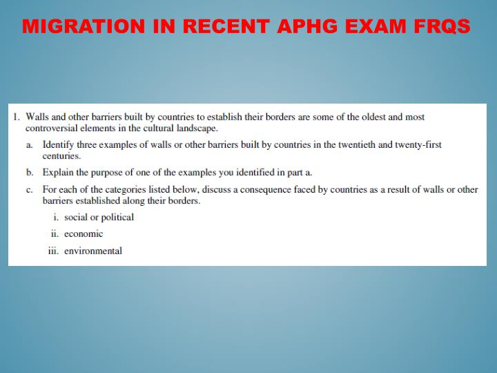 Migration in Recent APHG EXAM FRQs