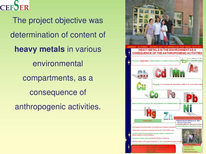 The project objective was determination of content of