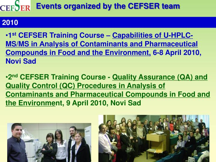 Events organized by the CEFSER team