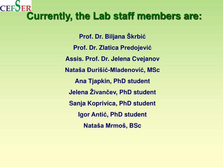 Currently, the Lab staff members are:
