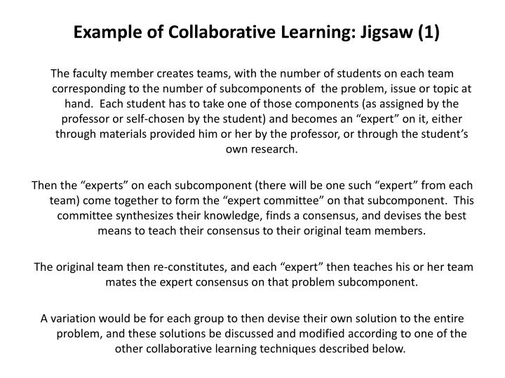 Example of Collaborative Learning: Jigsaw (1)