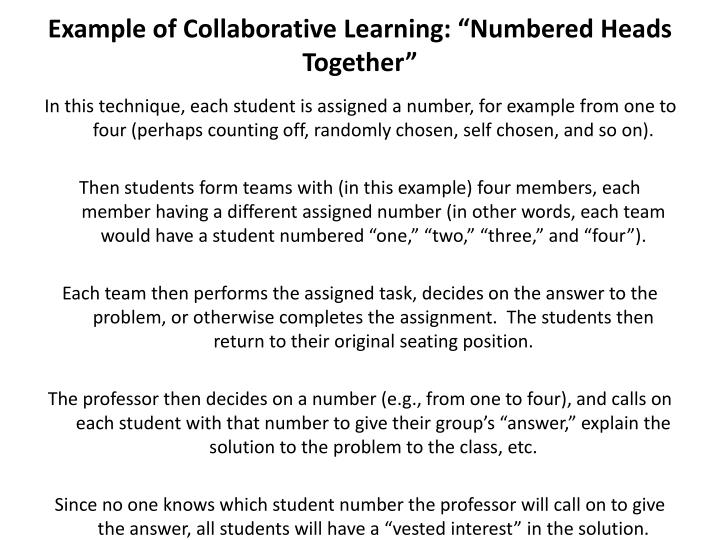 "Example of Collaborative Learning: ""Numbered Heads Together"""