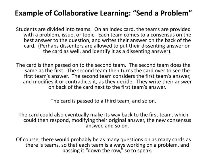 "Example of Collaborative Learning: ""Send a Problem"""