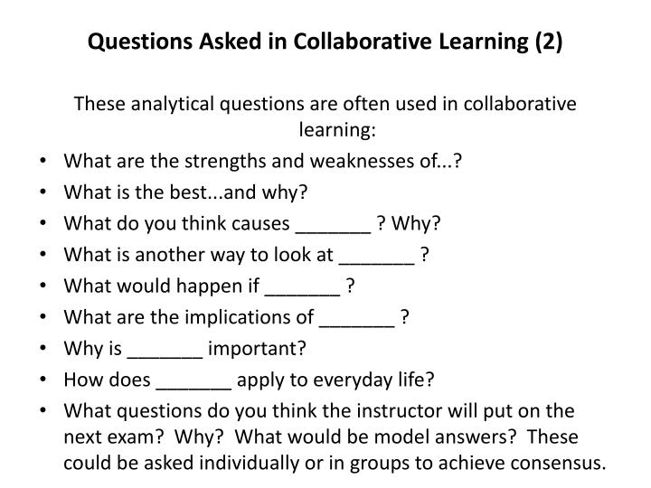 Questions Asked in Collaborative Learning (2)