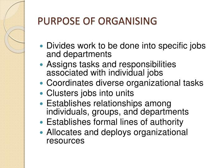 PURPOSE OF ORGANISING