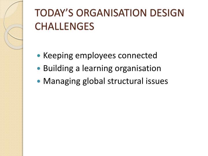 TODAY'S ORGANISATION DESIGN CHALLENGES