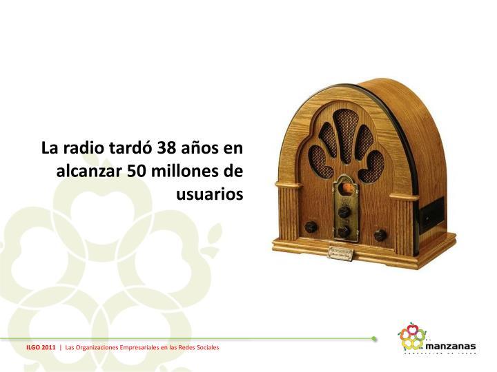 La radio tardó 38 años en alcanzar 50 millones de usuarios