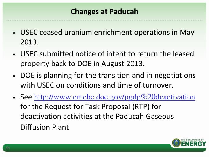 Changes at Paducah