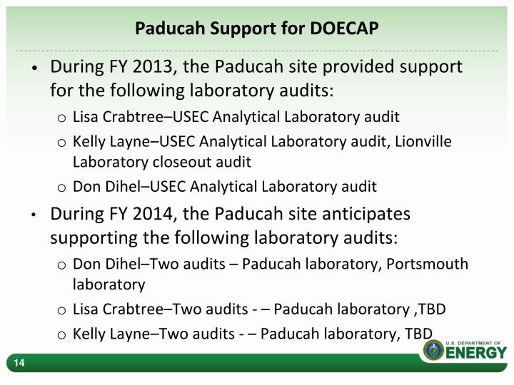 Paducah Support for DOECAP