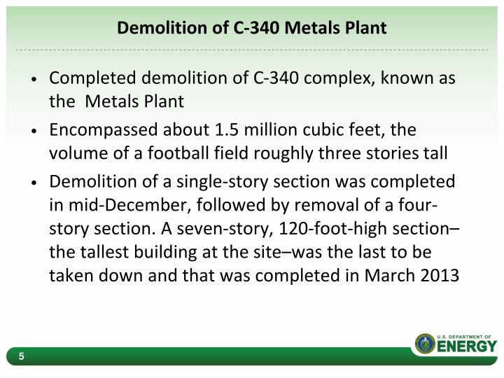 Demolition of C-340 Metals Plant