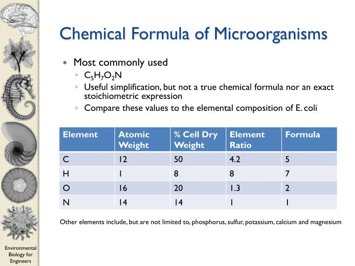 Chemical Formula of Microorganisms