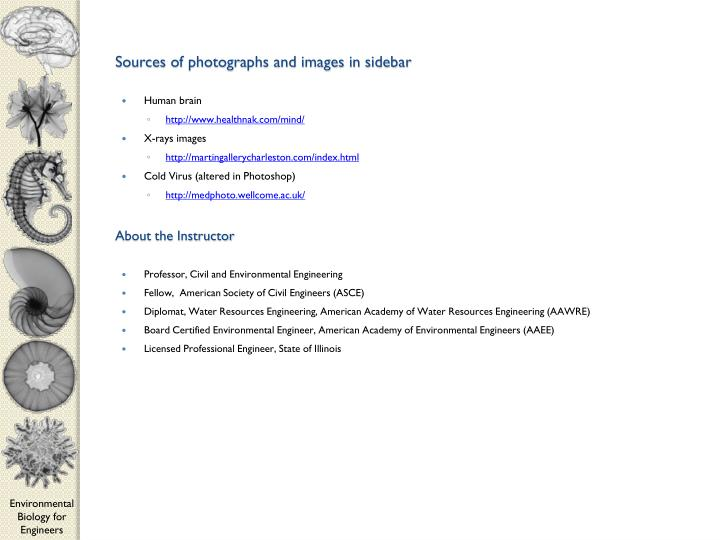 Sources of photographs and images in sidebar