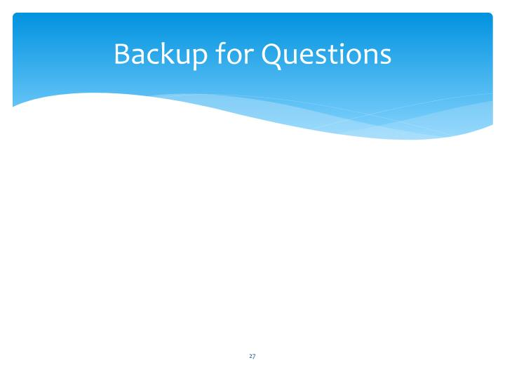 Backup for Questions