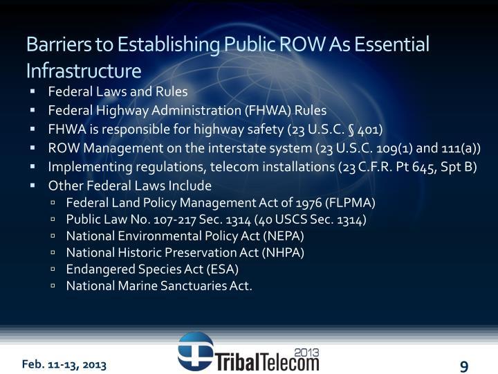 Barriers to Establishing Public