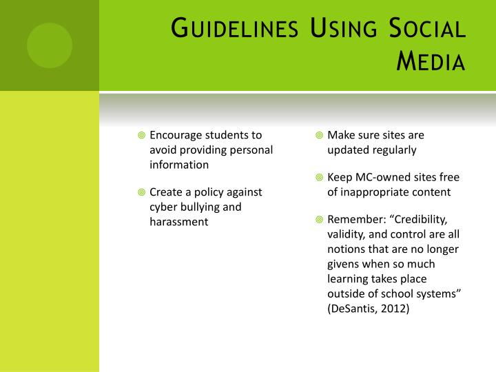 Guidelines Using Social Media