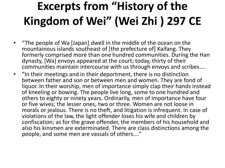 "Excerpts from ""History of the Kingdom of Wei"" (Wei"