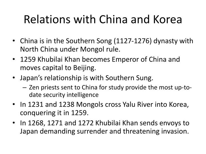 Relations with China and Korea