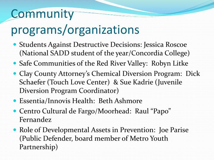Community programs organizations