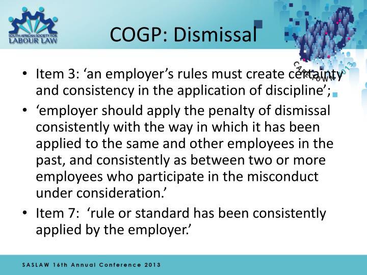 COGP: Dismissal
