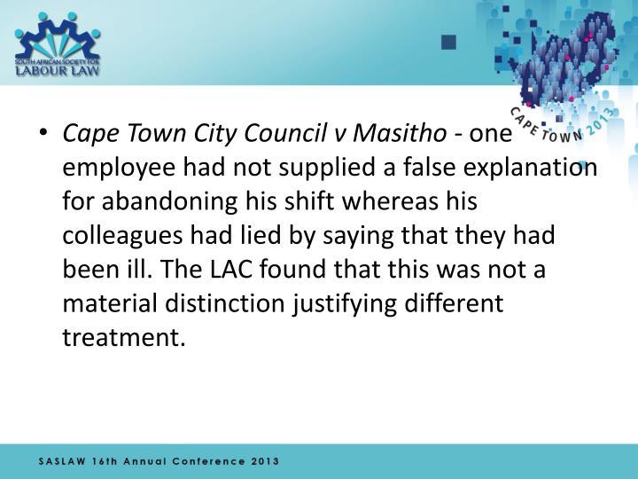 Cape Town City Council v