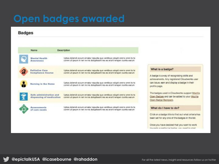 Open badges awarded
