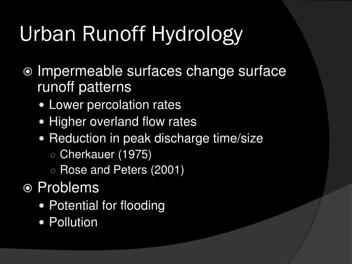 Urban Runoff Hydrology
