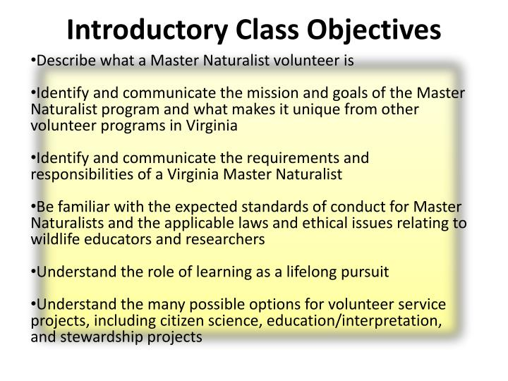 Introductory Class Objectives