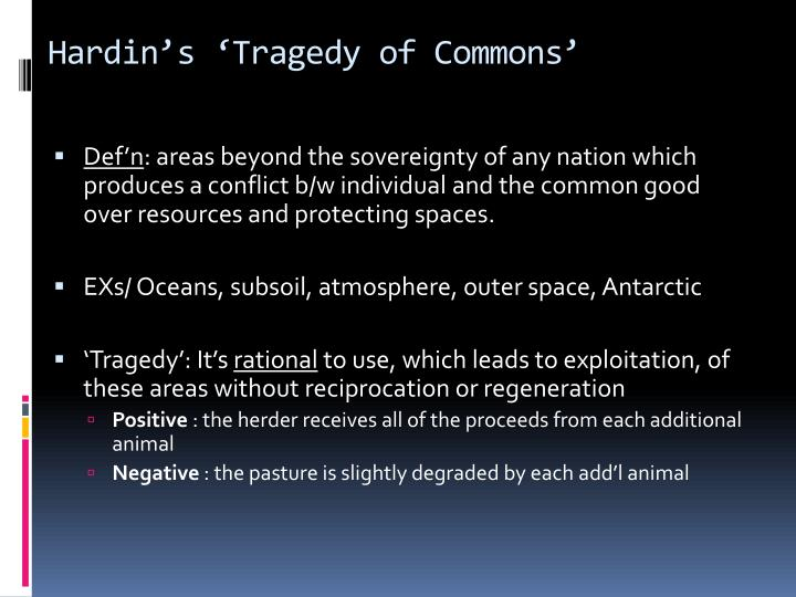 Hardin's 'Tragedy of Commons'