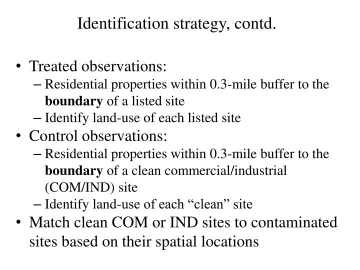 Identification strategy, contd.