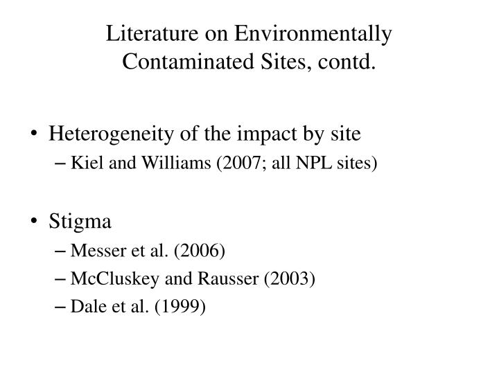 Literature on environmentally contaminated sites contd