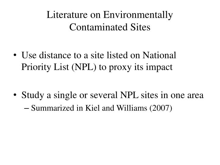 Literature on environmentally contaminated sites