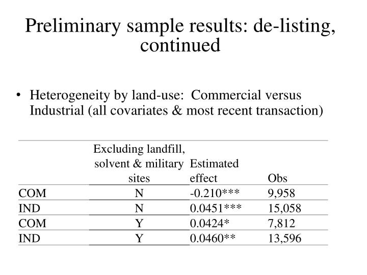 Preliminary sample results: de-listing,  continued