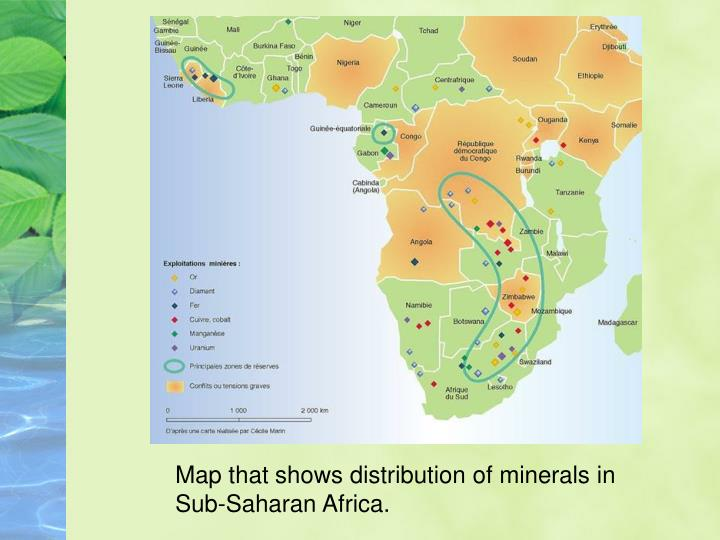 Map that shows distribution of minerals in