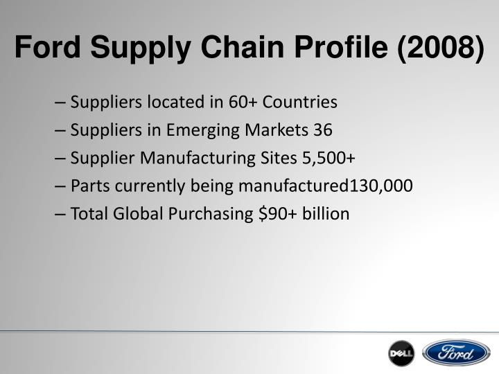 ford company supply chain strategy How ford's supply chain put the company back in the driver's seat by:  ford intends to rely on a flexible supply chain and manufacturing strategy to stay healthy.