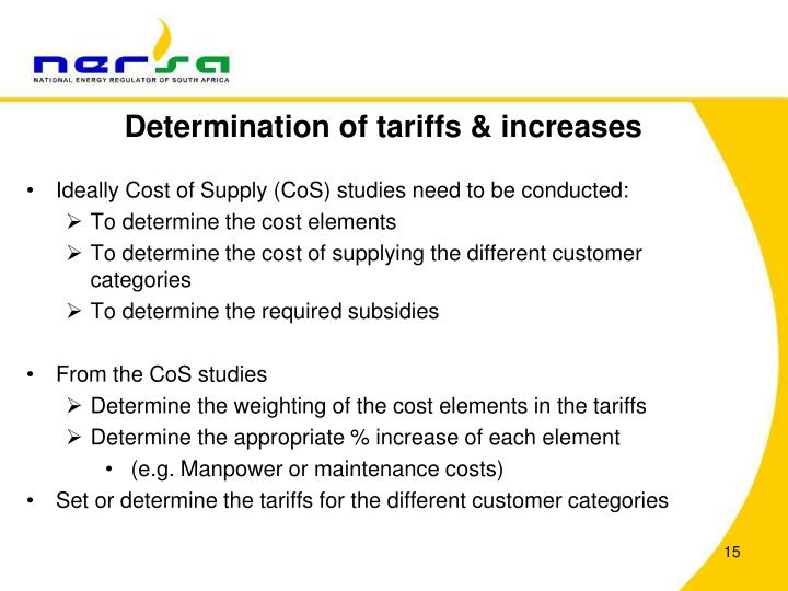 Determination of tariffs & increases
