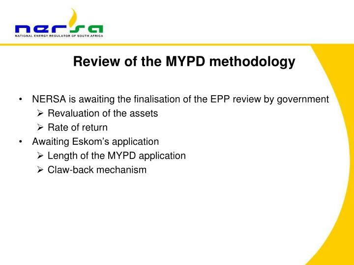 Review of the MYPD methodology