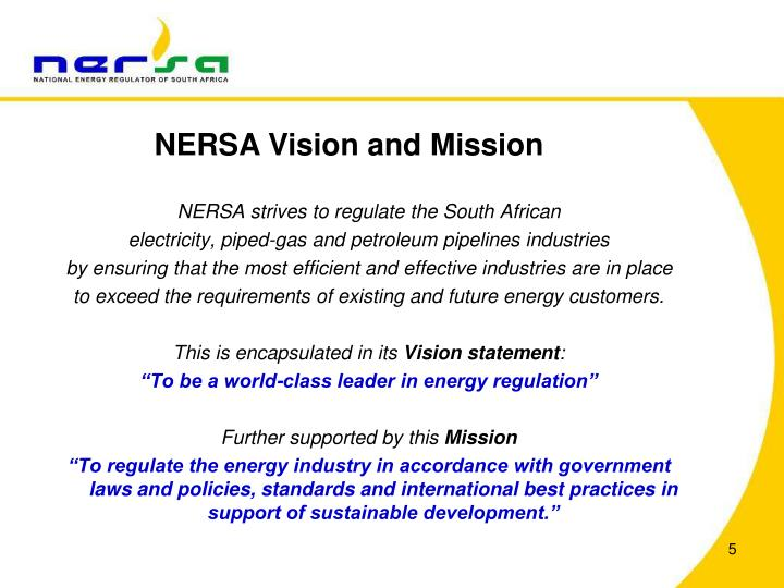 NERSA Vision and Mission