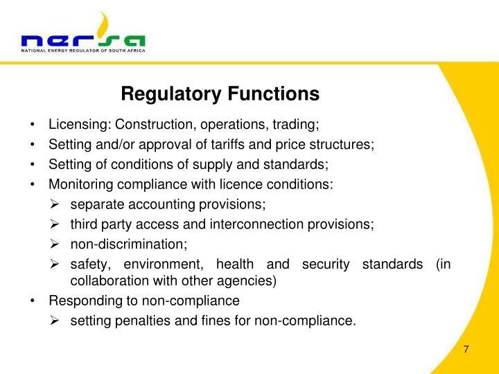 Regulatory Functions