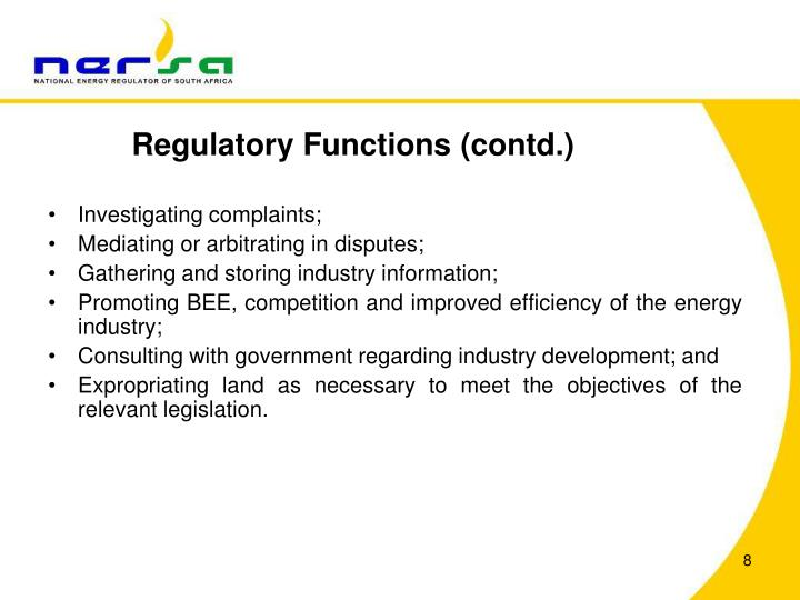 Regulatory Functions (contd.)