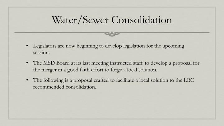 Water/Sewer Consolidation