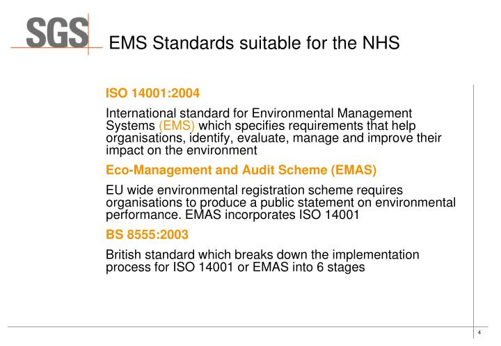 EMS Standards suitable for the NHS
