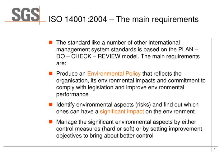 ISO 14001:2004 – The main requirements
