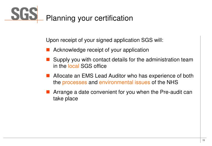 Planning your certification