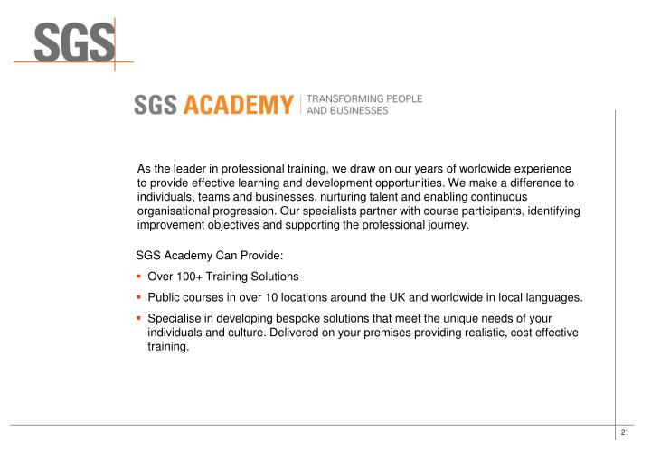 As the leader in professional training, we draw on our years of worldwide experience
