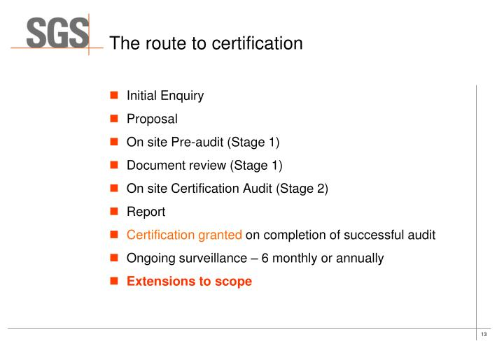 The route to certification