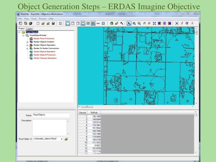 Object Generation Steps – ERDAS Imagine Objective