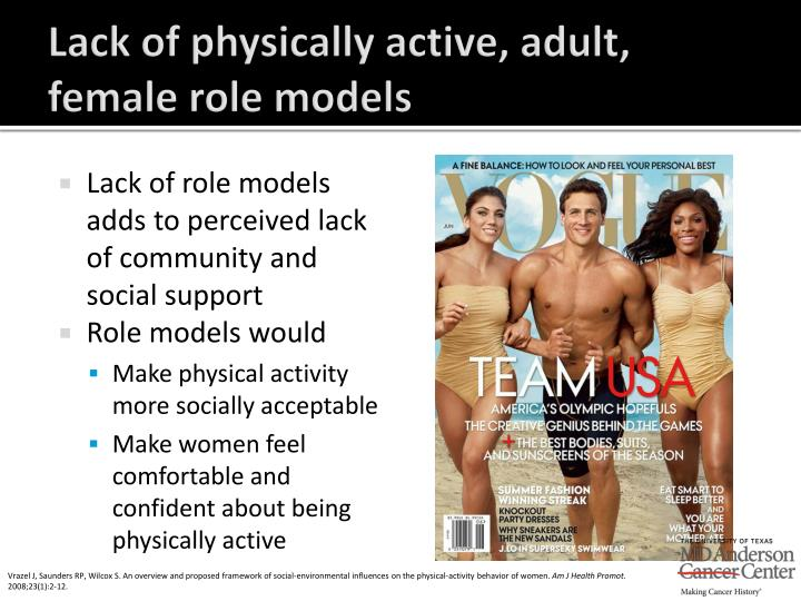 Lack of physically active, adult, female role models